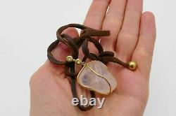 18k Yellow Gold Leather Rose Quartz Diamond Pendant Necklace