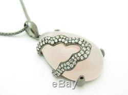 18kt Gold Sterling Silver Diamond Set White Sapphire & Rose Quartz Pendant Gift