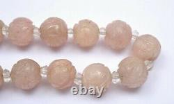 1930's Chinese Rose Quartz Carved Carving Pendant Bead Necklace Choker