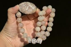 1930's Chinese Sterling Silver Rose Quartz Carved Carving Pendant Bead Necklace
