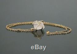 $2,750 18K Rose Gold Crystal Rock Rose Quartz Diamond Ribbon Pendant Necklace