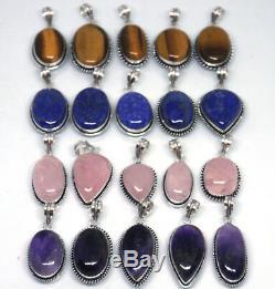200 PCs Rose Quartz & Mix Gemstone. 925 Silver Plated Pendants Christmas Offer