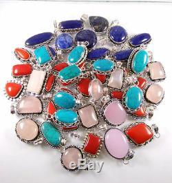 200 Pcs Lot ROSE QUARTZ, LAPIS LAZULI, CORAL Silver Plated Pendants