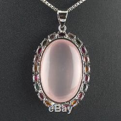 23.95 Gms AAA Luxurious Natural Tourmaline & Rose Quartz 925 Silver Pendant