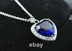 25 pieces Sterling Silver Rose Heart Spade Sapphire Crystal Pendant Gift
