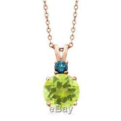 3.60 Ct Lemon Quartz Blue Diamond 18K Rose Gold Plated Silver Pendant and Chain