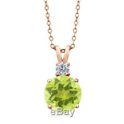 3.60 Ct Lemon Quartz Diamond 18K Rose Gold Plated Silver Pendant and Chain