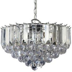 3 Light Chandelier Pendant CHROME CLEAR Shade Hanging Ceiling Feature Lamp Bulb
