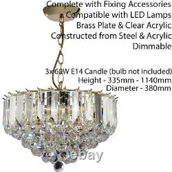 3 Light Chandelier PendantBRASS & CLEAR ShadeHanging Ceiling Feature Lamp Bulb