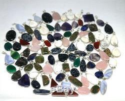 300 PCs Lot Natural Sodalite & Mix Gemstone. 925 Silver Plated Bezel Pendants