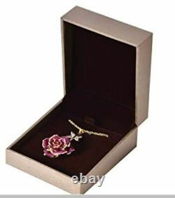 3Pc Purple 24K Gold Dipped Real Rose Drop Earring/Pendant/Brooch Mother's Day