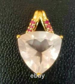 4.7ct Natural Rose Pink Quartz Red Ruby Solid 9K Yellow Gold Pendant Necklace