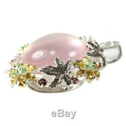 44.55ct. Real Rose Quartz Rhodolite Tsavorite Sterling 925 Silver Flower Pendant