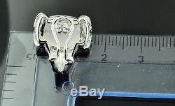 5.28 ct 14k Solid White Gold Diamond Rose Quartz Pendant Checker board Cut