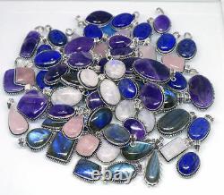 500 PCs Natural Amethyst, Moonstone Labradorite Gemstone Silver Plated Pendants