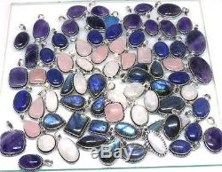 500 PCs Natural Moonstone, Labradorite, Lapis Stone. 925 Silver Plated Pendants