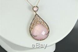 $5200 18K Rose Gold 38.12ct Rose Quartz Round Brown Diamond Pendant 18 Necklace