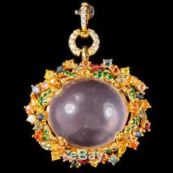 59.30 Ct. Real Rose Quartz Sapphire Cz Sterling 925 Silver Pendant With Brooch