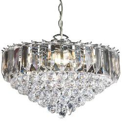 6 Light Chandelier PendantChrome, Clear ShadeHanging Ceiling Feature Lamp Bulb