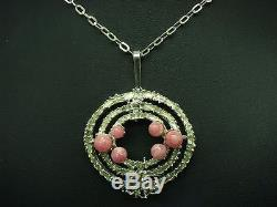 835 Silver Necklace & Pendant with Rose Quartz Decorations/Real Silver/55 0cm/25