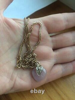9 Carat Gold Rose Quartz/Jade Diamond Heart Pendant 8.6 grams