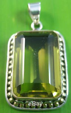 925 STERLING SILVER Real stone LEMON QUARTZ (silver, rose, gold) pendant WOMEN