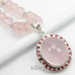 925 Stamp Natural ROSE QUARTZ RUBY Stone Pure Silver 17.8 Necklace Fine Jewelry