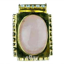 925 Sterling Gold Plated Silver Rose Quartz Gemstone Pendants 72.26 gms Jewelry