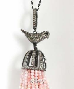925 Sterling Silver Bird Pendent Studded Natural Rose Quartz&Pave Diamond MB