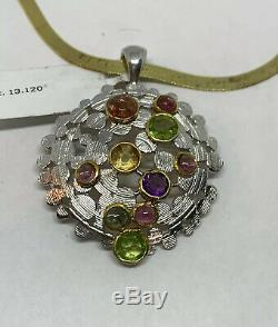 925 Sterling Silver Gold Plated Multi Gemstones Round Pendant Necklace Italy