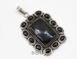 925 Sterling Silver Onyx Gemstone Encrusted Framed Drop Pendant P1092