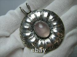 925 Sterling Silver Pendant Rose Quartz Stone Cab Cabochon Large Huge Big 269