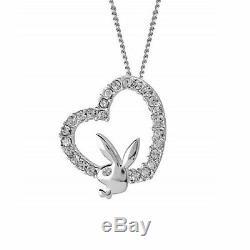 925 Sterling Silver Playboy Necklace Bunny Heart Pendant Charm Logo y2k Play Boy