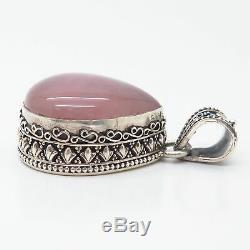 925 Sterling Silver Real Extra Large Rose Quartz Boho / Ethnic Design Pendant