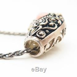 925 Sterling Silver Suarti Bali Rose Quartz Ornate Pendant Chain Necklace 17