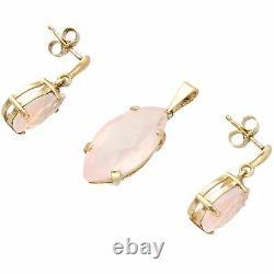 9Carat Yellow Gold Marquise & Pear Cut Rose Quartz Earrings & Pendant Set