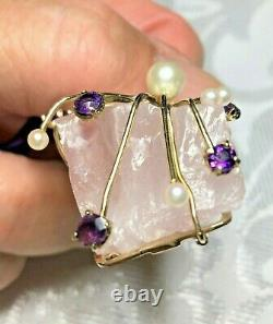9ct Amethyst Pearl Abstract Modernist Rose Quartz Pendant Natural LARGE 1985 19g
