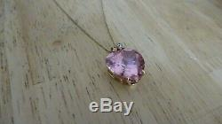 9ct Gold & Large Pink Stone Pendant 14.5 Grams