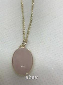 9ct Gold Natural rose quartz oval single pendant & 18 9k curb chain hallmark