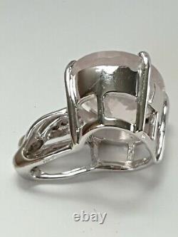 9ct Rose Quartz And Diamonds Pendant In White Gold