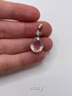 9ct gold rose quartz and diamond pendant