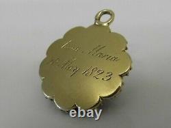 A FINE ANTIQUE GEORGIAN 15ct GOLD ROSE QUARTZ BANDED AGATE PENDANT C1823