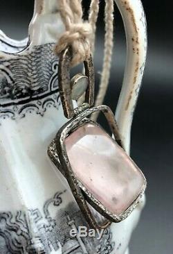 A-MAZING LOU ZELDIS Handmade Sterling Silver LARGE Gyro ROSE QUARTZ necklace