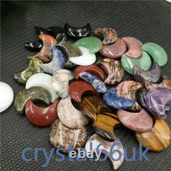 A lot of wholesale Natural Quartz Crystal moon carved Crystal pendant Healing