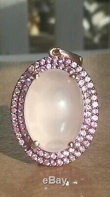 AAA gem quality rose quartz and pink sapphire halo design pendant