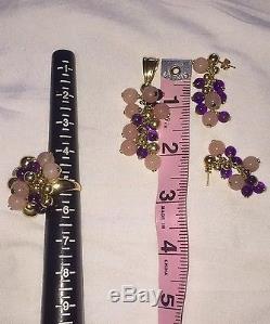 AMETHYST, ROSE QUARTZ, 14k Gold Ring, Pendant, And Earring Set ITALY 55+grams