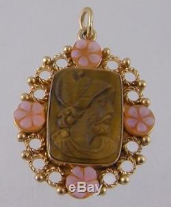 ANTIQUE 14 KARAT GOLD CARVED TIGERS EYE CAMEO with ROSE QUARTZ FLOWERS PENDANT