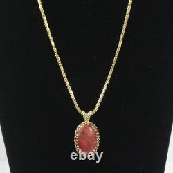 AWESOME 14k YELLOW GOLD BYZANTINE CHAIN 20 WITH ROSE QUARTZ & DIAMOND PENDANT