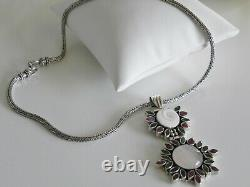 AWESOME 48g sterling silver 925 full HM multi gem pendant Byzantine necklace