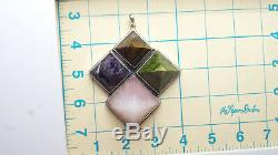 Agate Charoite Rose Quartz Tiger Eye Sterling Silver 925 Pendant 115g HAN917